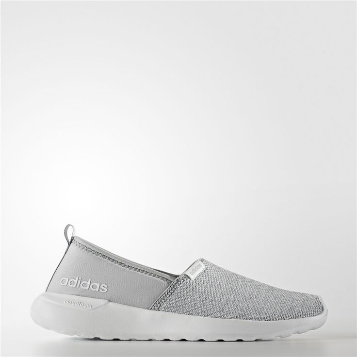 Adidas Cloudfoam Lite Racer Slip-On Shoes (Clear Onix / Clear Onix / Running