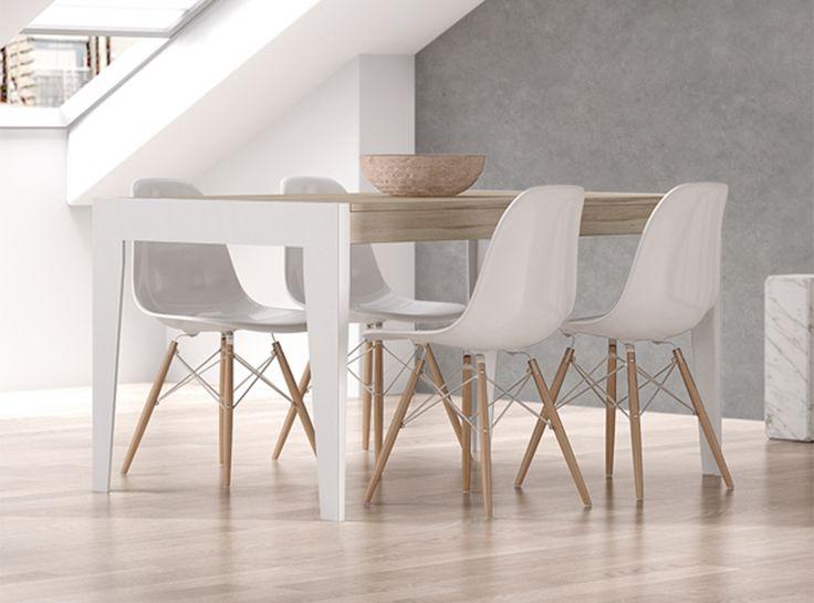 Atractiva y original mesa de comedor extensible en chapa industrial con patas metálicas en color blanco o negro, detalle característico que aporta personalidad a esta colección.