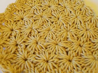 *Free Crochet Pattern: Jasmine Stitch No. 8: 6 petals with bobbles in the round. This stitch is also known as a star stitch, among other names.