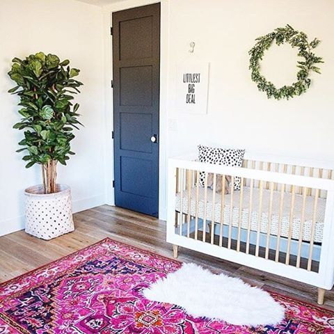 Pops of greenery in the nursery? Loving this eclectic, boho feel.  via @mrs.minty