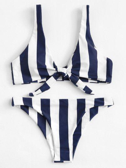 Maillot de bain : Knot Front Striped Bikini Set -SheIn(Sheinside) 1