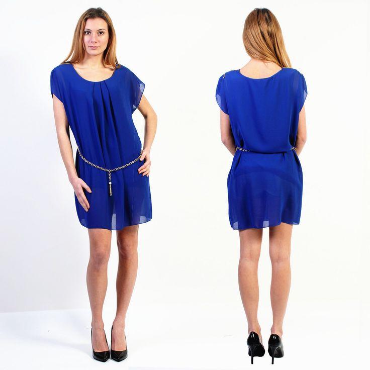 Robe bleu électrique, accompagnée d'une ceinture. Elle est faite pour vous.  Taille: unique       Prix: 13,99€ #mode #jolie #tendance #femme #mode #robe #bleu #sublime