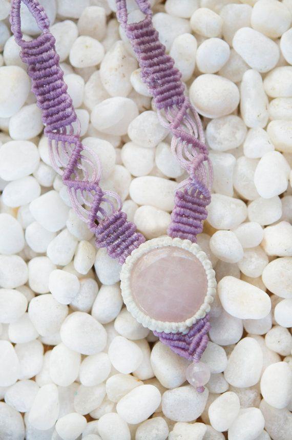 Rose Quartz Macrame Necklace by AmberSkyeboho on Etsy
