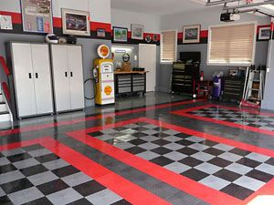 Positive feedback caves and garage flooring on pinterest for Home mechanic garage layout ideas