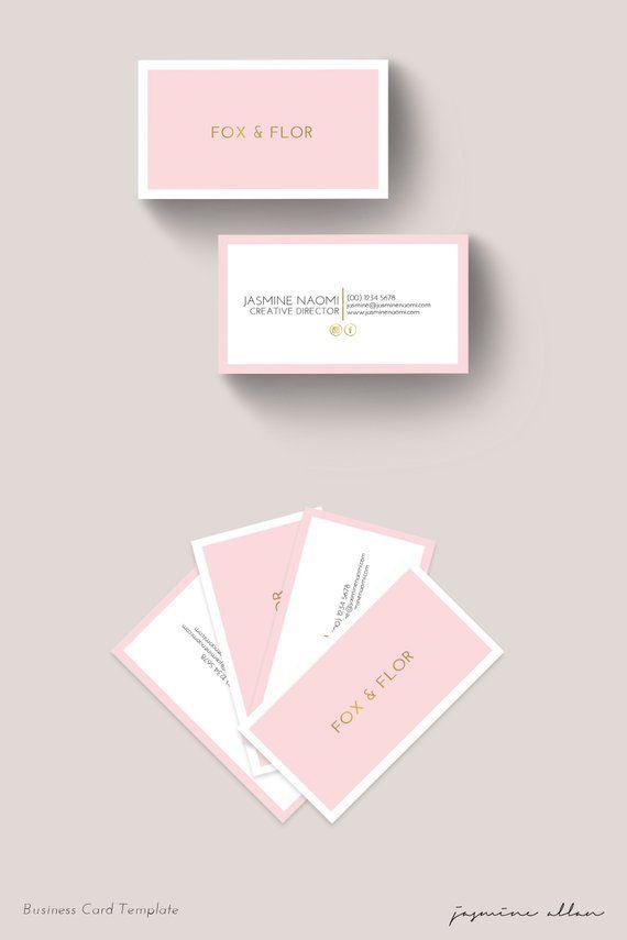 Editable Blush Pink And Gold Business Card Design Corjl Template Feminine Photographer Blogger Hairdresser Branding Minimalist Diy Pink Business Card Card Design Gold Business Card