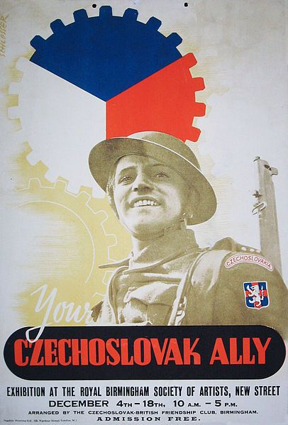 """Your Czechoslovak Ally"" -- Propaganda poster of Czechoslovak exile government in London. Poster showing Czechoslovak exile military unit to British. Poster from exhibition of the Slovak National Museum in Bratislava, commemorating the assassination of Heydrich. The portrait of a soldier used as a main theme of the poster is Sergeant Jan Hrubý, who died in the fight with German troops in the crypt of the church of St. Cyril and Methodius in Prague on 18th June 1942."