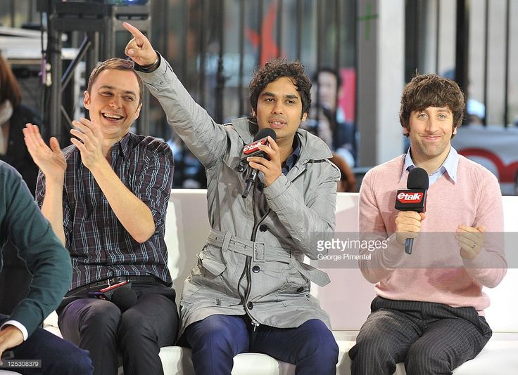 Actors Jim Parsons, Kunal Nayyar and Simon Helberg of 'The Big Bang Theory' visit etalk Studios at CTV Queen St. HQ Building on October 7, 2010 in Toronto, Canada.