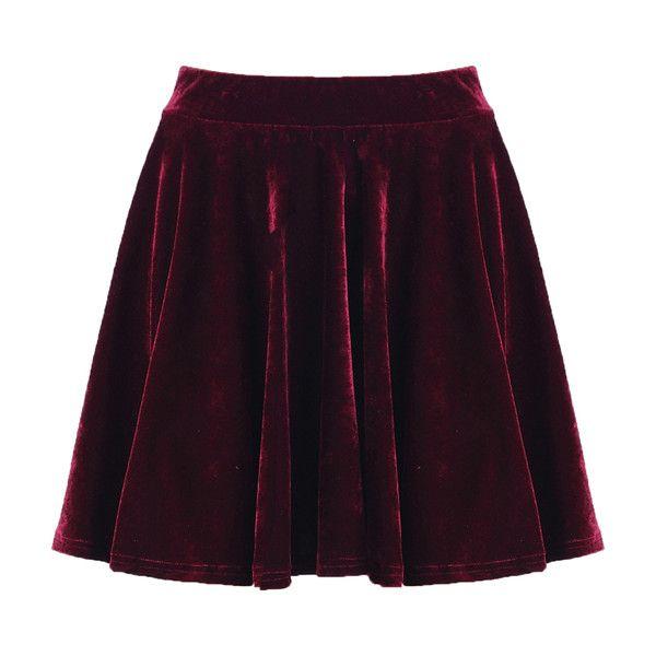 Crimson Velvet Skirt$29.00 ($29) ❤ liked on Polyvore
