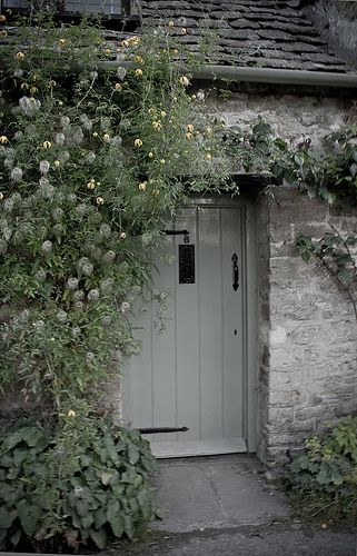 Soft shades of gray repeated in the cottage colors and ... the flowers clamoring up the doorway. #cottage#romantic