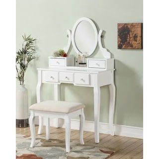 Shop for Ashley Wood White Makeup Vanity Table and Stool Set. Get free delivery at Overstock.com - Your Online Furniture Store! Get 5% in rewards with Club O! - 17882090