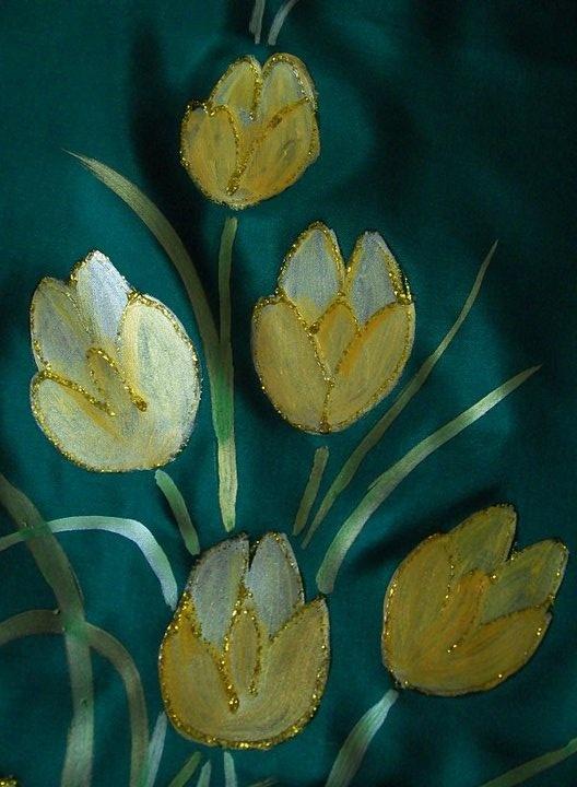 Hand painted fabric by Sandhya Phalke