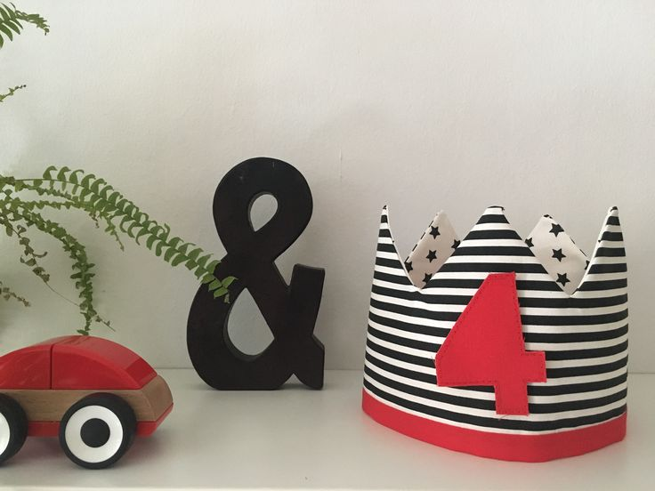 Birthday Crown Fabric. Black and white striped and red