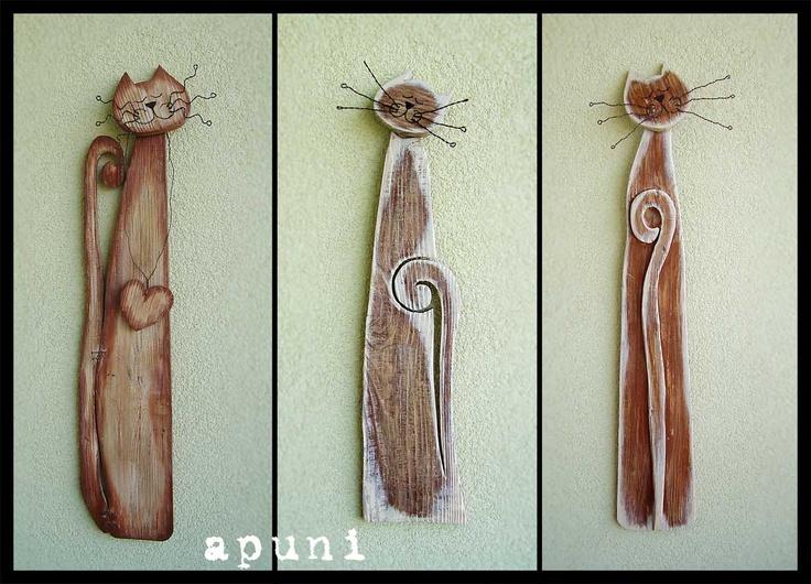 apuni - moje hobby - rękodzieło: Drewniane koty