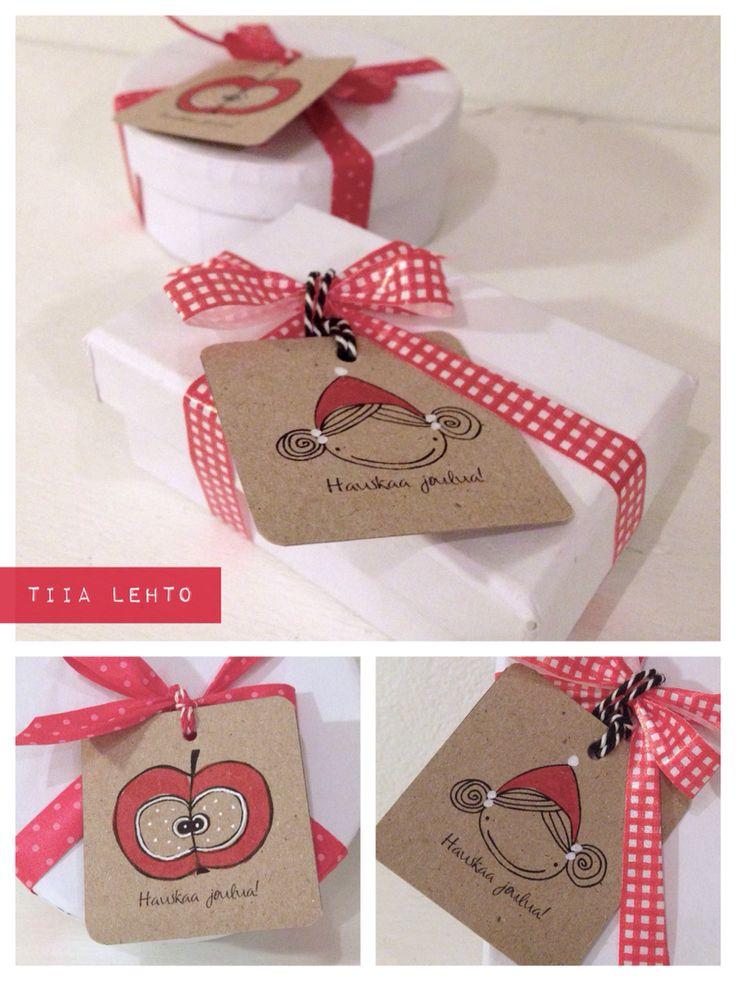 Christmas gift labels / jouluiset pakettikortit - by Tiia Lehto
