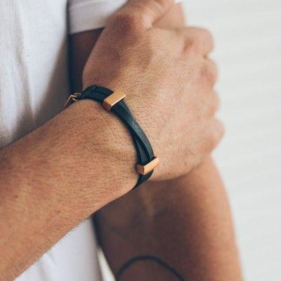 pulseira-masculina-em-couro-stefano-black-rose-gold-key-design