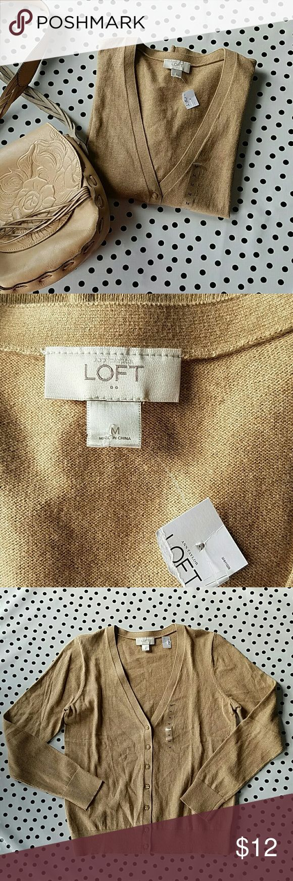 Ann Taylor Loft Outlet Cardigan New with tags. Ann Taylor Loft Outlet V neck Cardigan. Perfect camel color. Ann Taylor Sweaters Cardigans