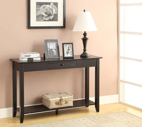 CONVENIENCE CONCEPTS 8013081-BL AMERICAN HERITAGE HALL TABLE WITH DRAWER  AND SHELF, BLACK -. Small HallwaysHallway TablesSofa ... - 107 Best Sofa Tables Images On Pinterest Sofa Tables, Living