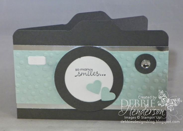 Stampin' Up! Envelope Punch Board camera card. Includes step-by-step tutorial. Debbie Henderson, Debbie's Designs.