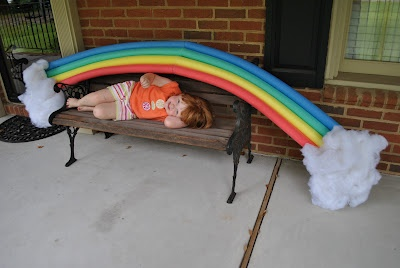DIY Giant Rainbow for VBS Victoria Falls. Made from swim noodles at Mom's Best Nest.