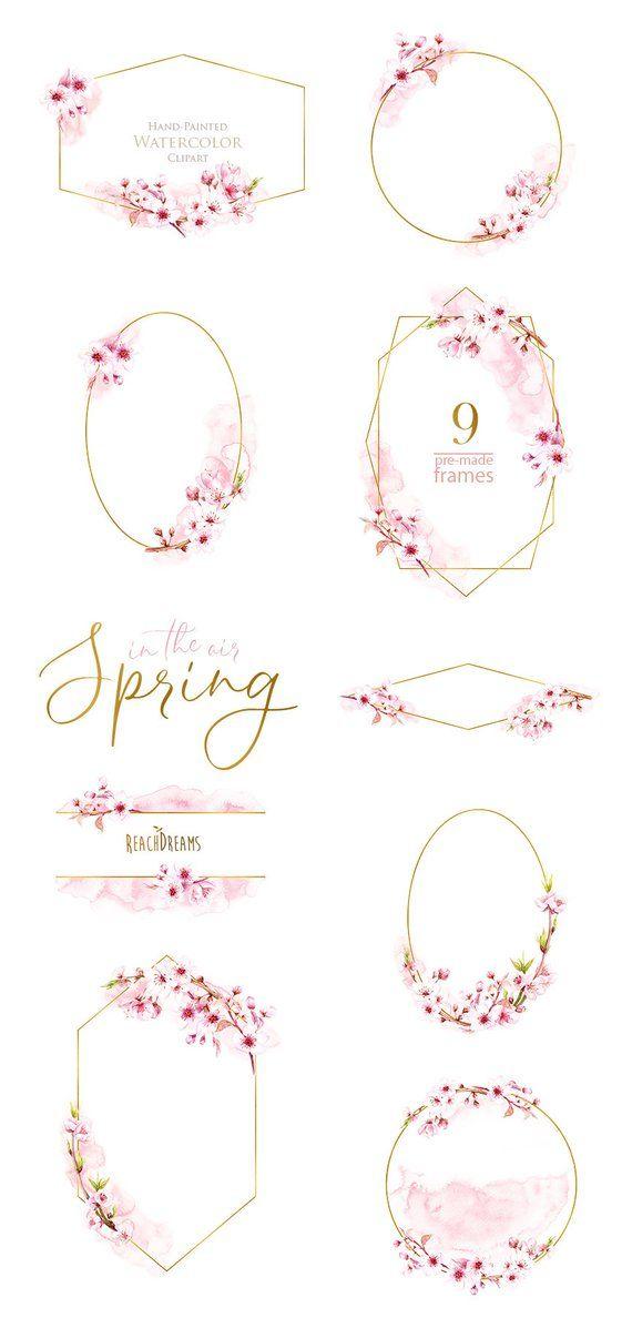 Aquarell Rahmen, floralen Sakura, vorgefertigte Cliparts, Frühling, Gold, rosa, Geometrie, Hochzeit, Braut-Vorlage, Einladungen, romantisch – Hintergründe