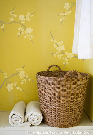 Cherry Blossoms Stencil from the Japanese Stencils Collection | Link has great Stencil Ideas for Laundry Rooms | Royal Design Studio
