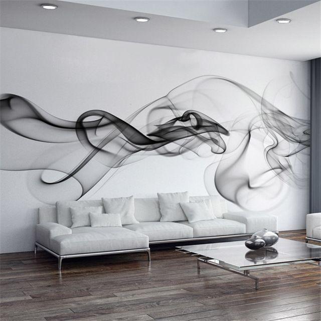Smoke Fog Photo Wallpaper Modern Wall Mural 3D view wallpaper Designer Art Black & White Room decor Bedroom Office Living room