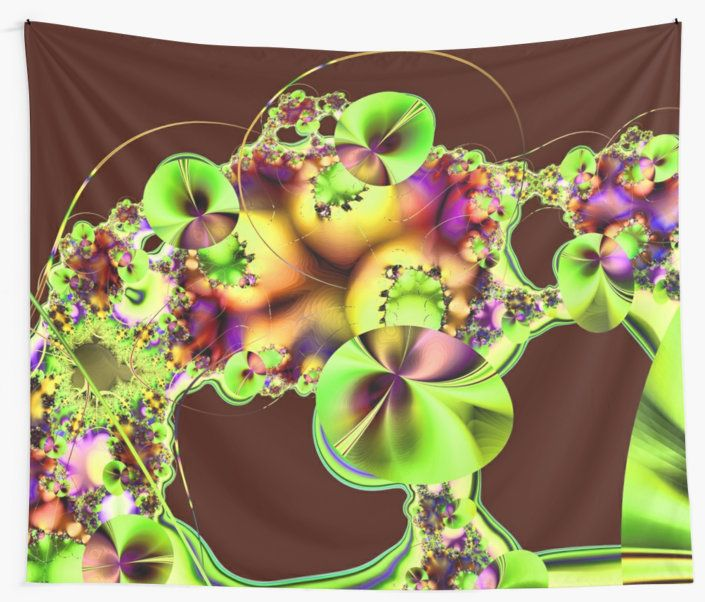 A bright and colourful fractal image that looks like Hibiscus flowers with decorative sprays, flourishes and curved lines.  You may see something else.  This is the green version with a maroon background. • Also buy this artwork on home decor, apparel, phone cases, and more.