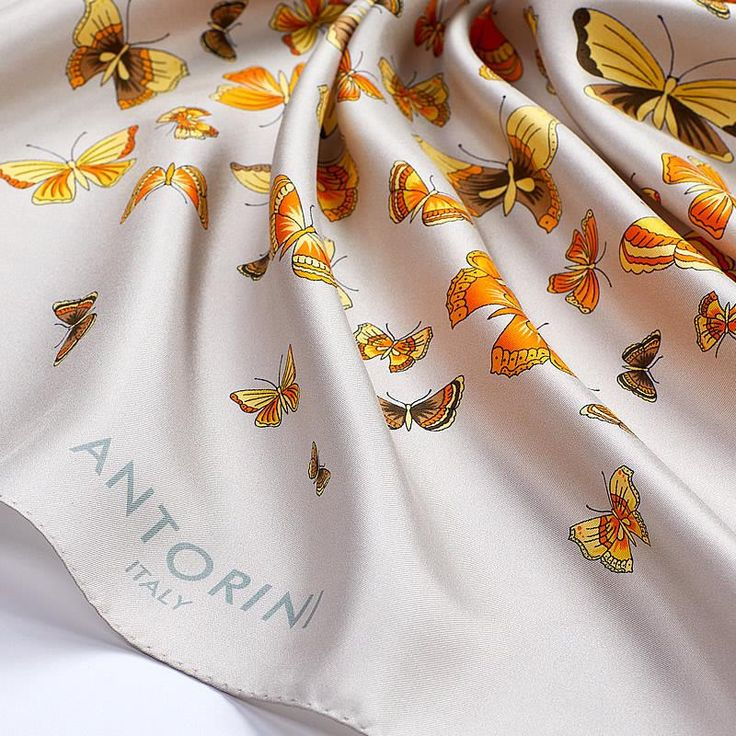 Luxury Butterflies Scarf ANTORINI Beige