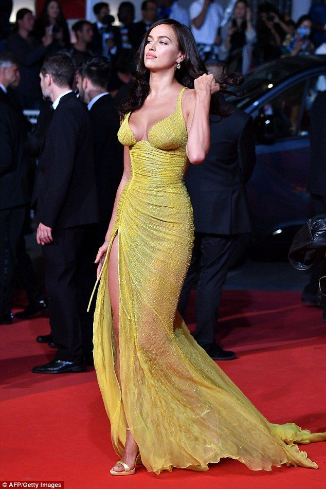 Irina Shayk in Atelier Versace attends the 'Hikari ' screening during the 70th annual Cannes Film Festival at Palais des Festivals on May 23 2017 in Cannes France