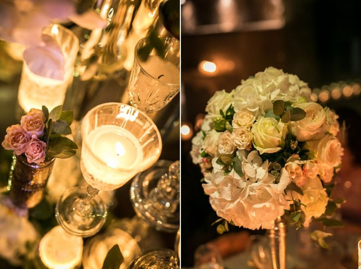 Magic is in the details! Hydrangeas, garden roses and little  o' hara roses for our flower compositions and candles lit in crystal glasses set the luxurious tone of this wedding reception.