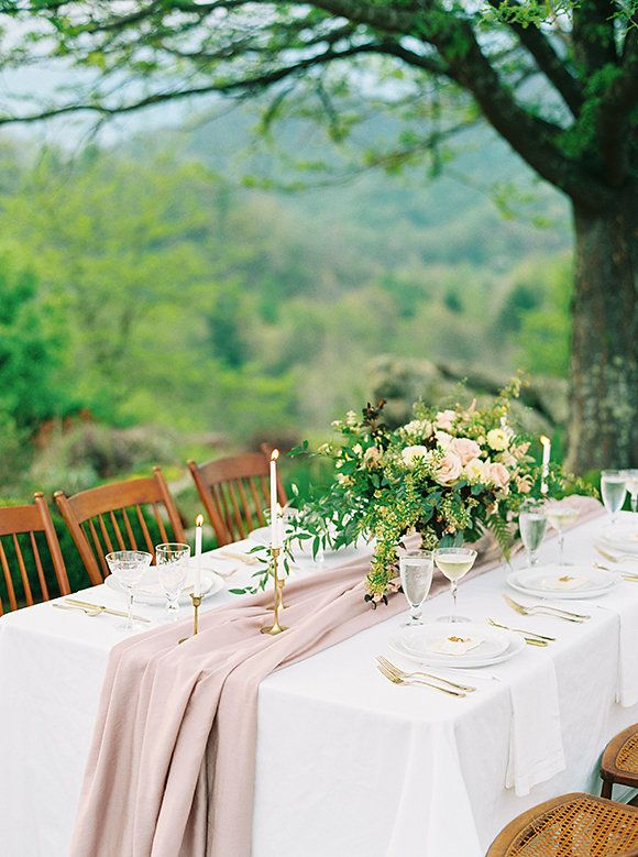 Best 25 wedding table runners ideas on pinterest burlap table romantic nature driven wedding inspiration junglespirit Images