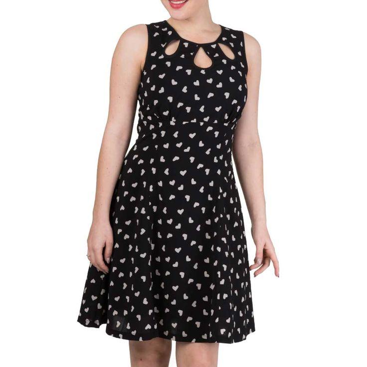 Tell The Story jurk met harten print zwart/wit - Vintage Retro Rockabilly