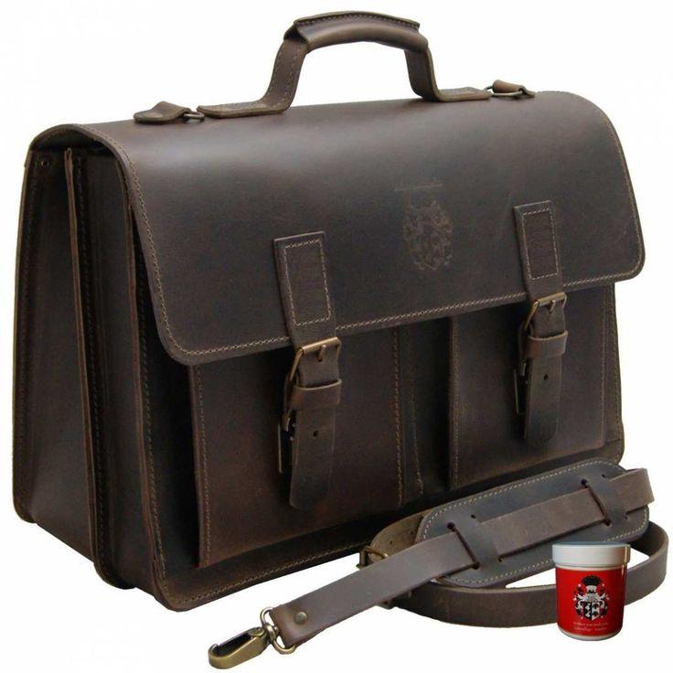 In der geräumigen #17.3 Zoll Herren #Aktentasche NEWTON aus braunem Bio #Leder haben Sie Ihren Laptop immer gut geschützt dabei.