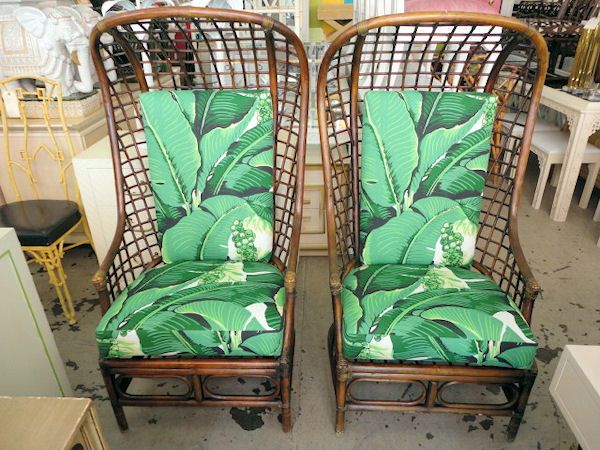 Good Rattan HOODED Chairs W/ Carleton Varney Fabric.