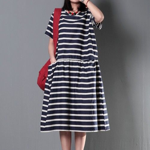 Striped cotton sundress plus size linen maxi dress summer maternity dressThis dress is made of cotton or linen fabric, soft and breathy, suitable for summer, so loose dresses to make you comfortable all the time.Measurement: One Size: length 105cm / 40.95