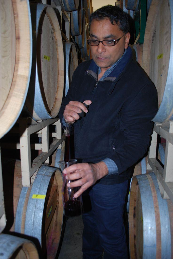 Winemaker Kit Singh pulling the 2013 Malbec from the barrel. Barrel Tasting at Lauren Ashton Cellars.