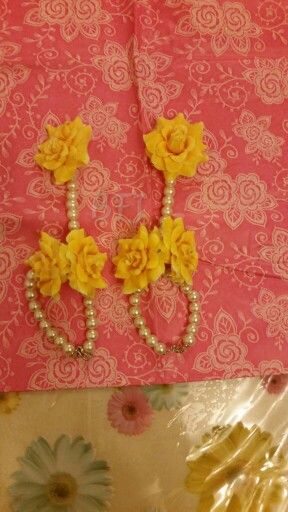Flower and pearl bangles (hath panja) by bridal flower jewellery www.bridalflowerjewellery.weebly.com