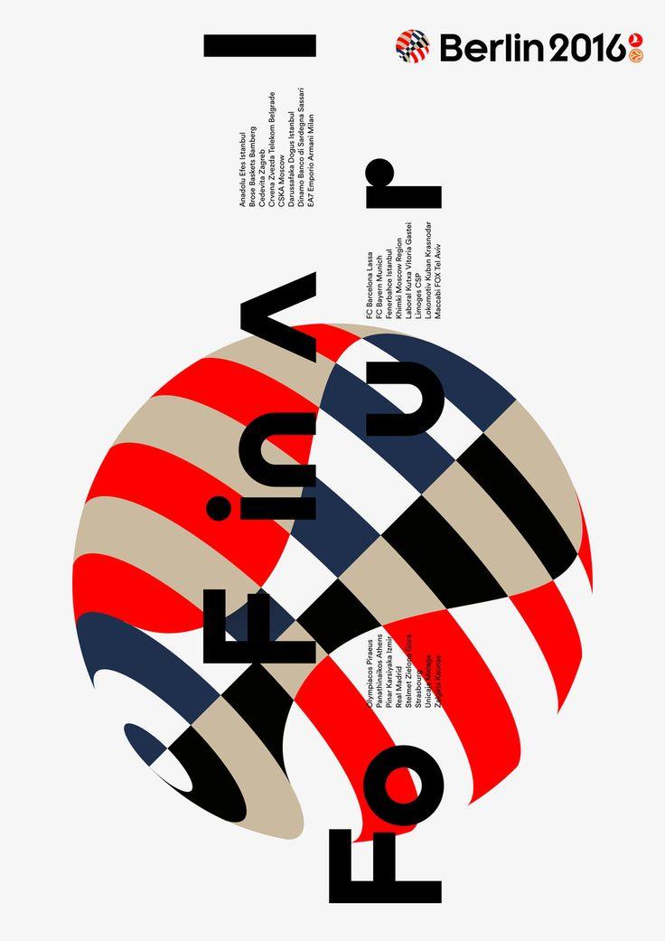 Visuele stijl 6 BAUHAUS Letters overal doorheen de poster/het ontwerp en schuingeplaatst. Rood. Beige. Zwart. Donkerblauw.