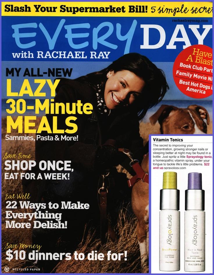 Sprayology's Brain Power & Hair + Nail Tonic was featured in Rachel Ray's Everyday Magazine [Sprayology available at Seasons]