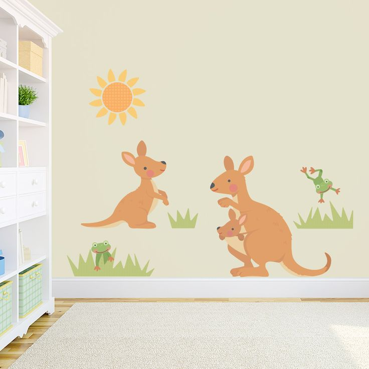 Create an Australian outback theme in your play room | Kangaroo Family Printed Wall Decal