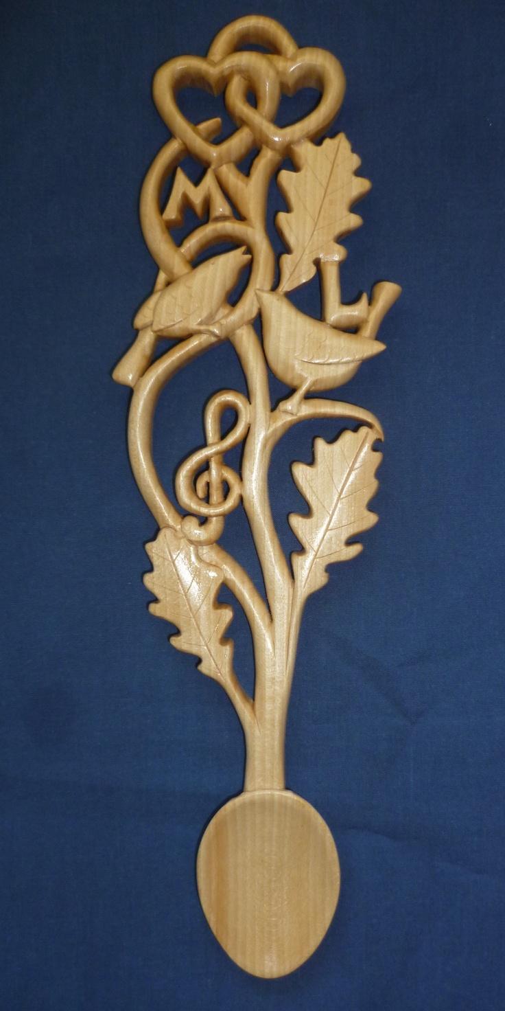 Love Birds And Oak Leaves Love Spoon.