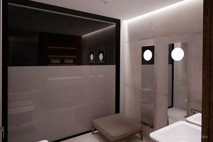 интерьер ванной комнаты со стиральной машиной, дома из контейнеров в спб