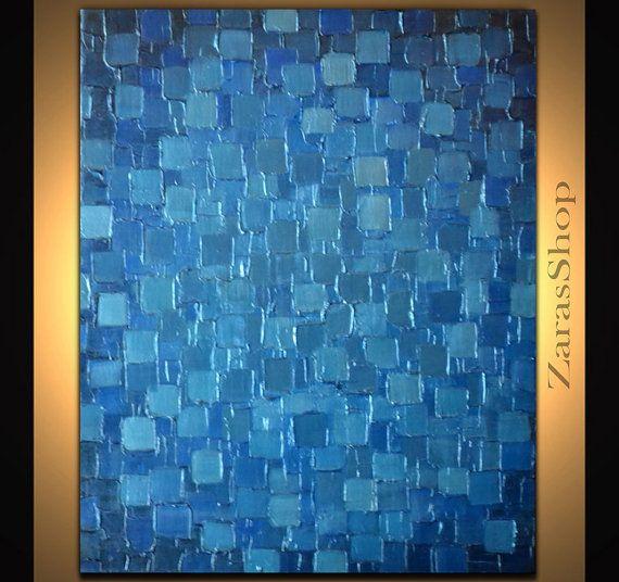 Original Modern Metallic Blue Painting 24x20 Palette Knife Abstract Geometric Heavy Texture Art Ready to Hang Home Decor
