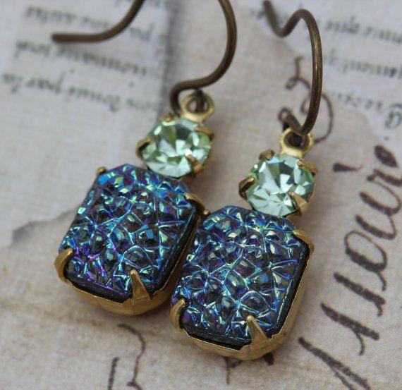Vintage Jewel Earrings  Green Peridot by inspiredbyelizabeth
