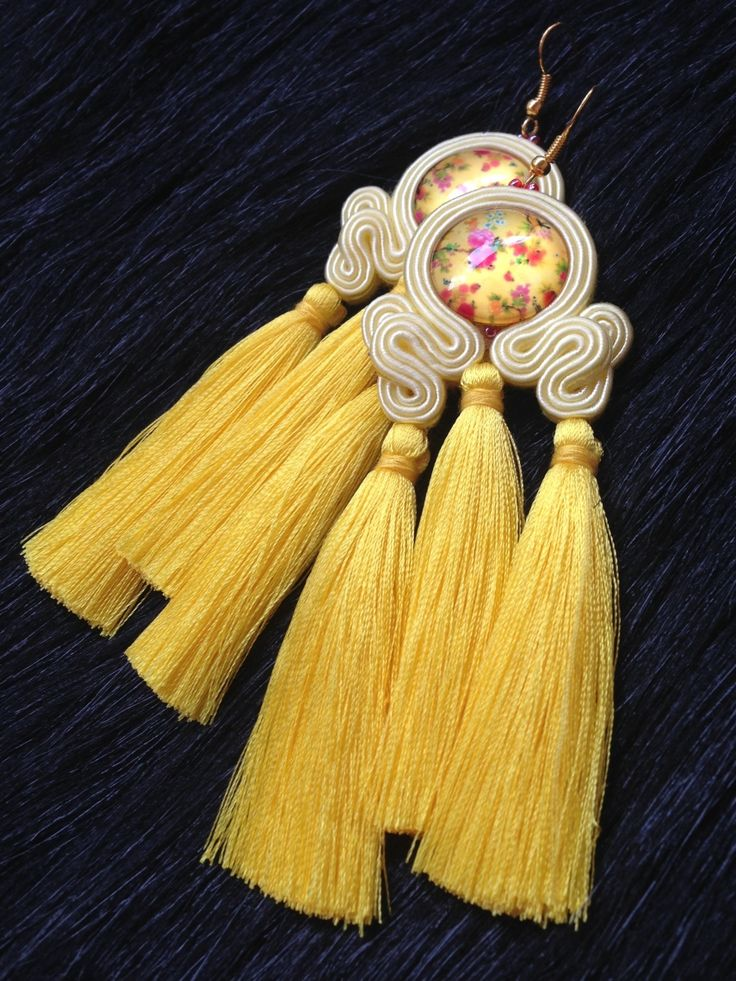 Yellow Soutache Earrings