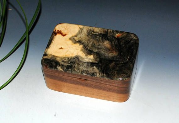 Handmade Wooden Small Box with Tray in Walnut and Buckeye Burl - Small Desk or Wood Stash Box -Handmade Jewelry Box by BurlWoodBox -Wood Box by BurlWoodBox