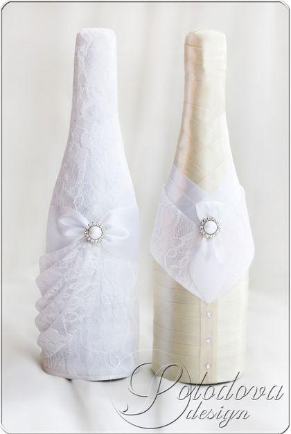 """Свадебное шампанское """"Комильфо"""" - белый,свадьба,свадебные аксессуары,свадебное украшение"""
