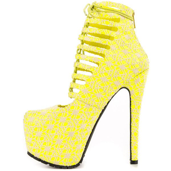 Privileged Women's Denmark - Neon Yellow ($95) ❤ liked on Polyvore featuring shoes, neon yellow stilettos, multi color shoes, multi colored shoes, cut-out shoes and crochet shoes