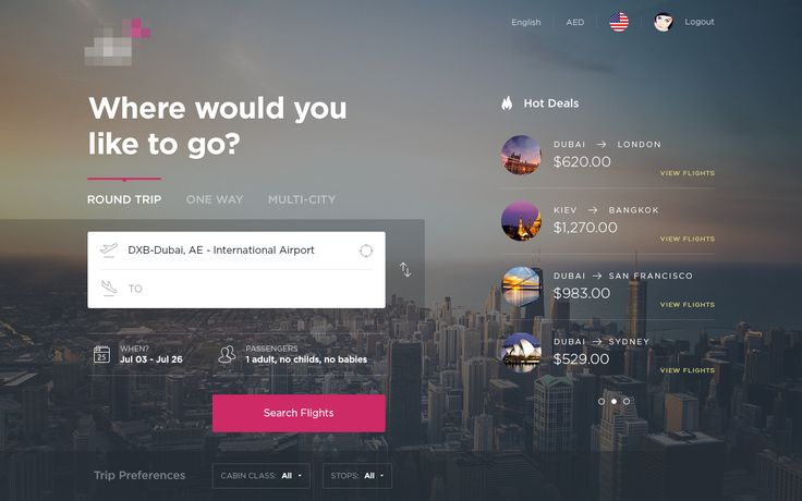 online airline ticket booking - search