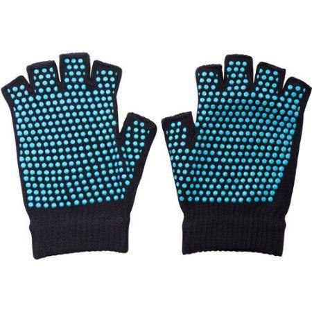 Lotus Non-Slip Yoga Gloves, Black
